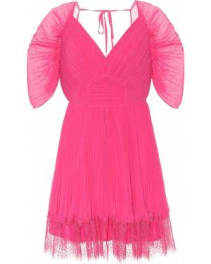 Розовое кружевное шифоновое платье мини Self-portrait