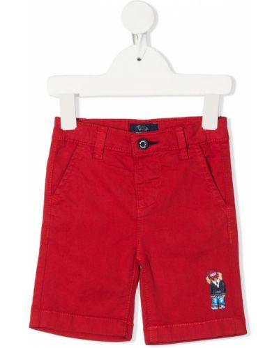 Хлопковые красные шорты стрейч до середины колена Harmont & Blaine Junior