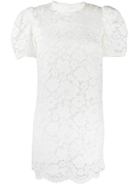 Шелковое кружевное белое платье мини Marc Jacobs