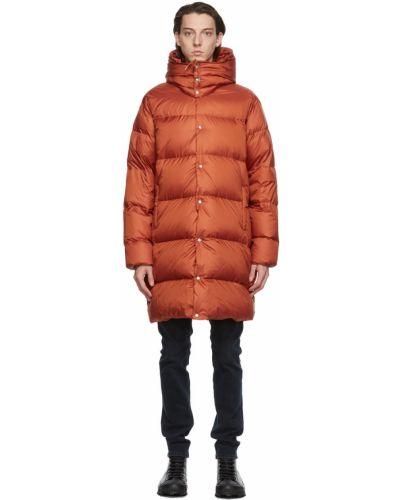 Satynowy pomarańczowy długi płaszcz z kapturem Holubar
