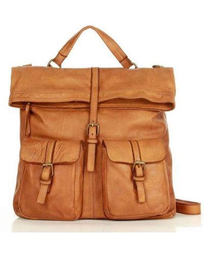 Plecak na laptopa camel w paski Mazzini
