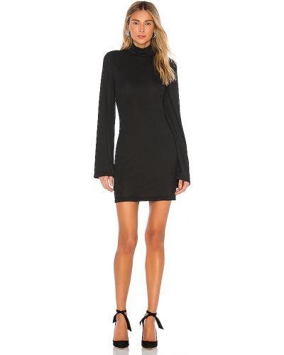 Włókienniczy światło czarny z rękawami sukienka mini L'academie