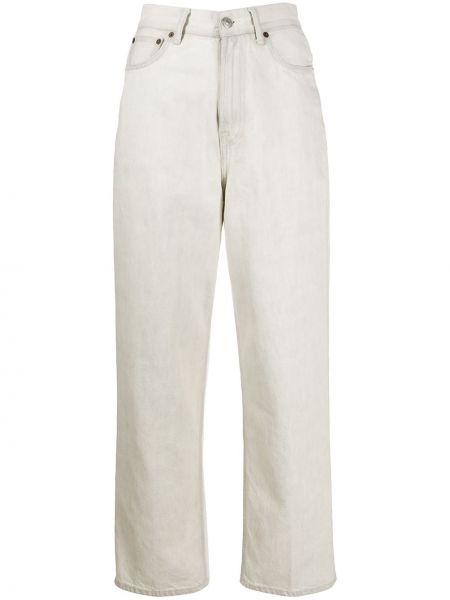 Beżowy bawełna z wysokim stanem jeansy na wysokości z kieszeniami Acne Studios