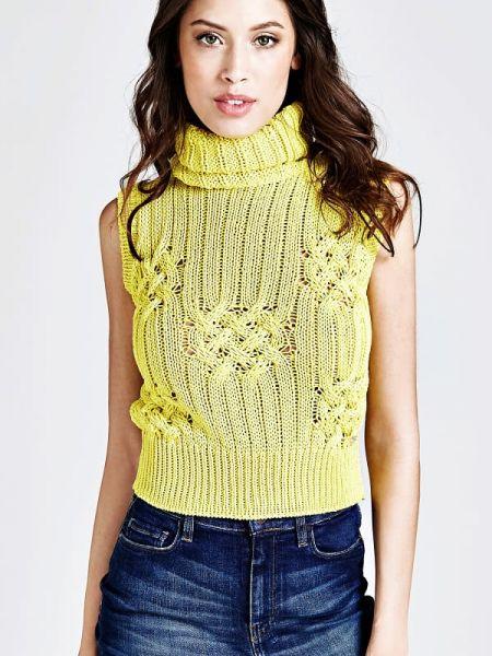 Żółty pulower bez rękawów materiałowy Guess