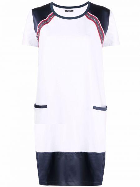 Хлопковое белое платье-рубашка с короткими рукавами Liu Jo