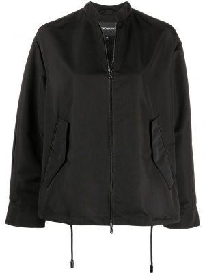 С кулиской черная длинная куртка с карманами Emporio Armani