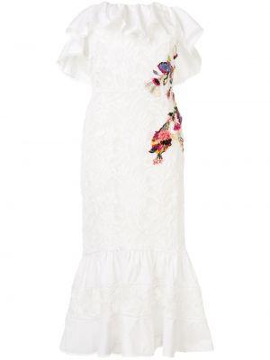 Платье с вышивкой с цветочным принтом Marchesa