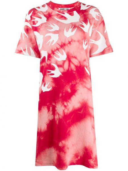 Хлопковое свободное красное платье свободного кроя Mcq Alexander Mcqueen