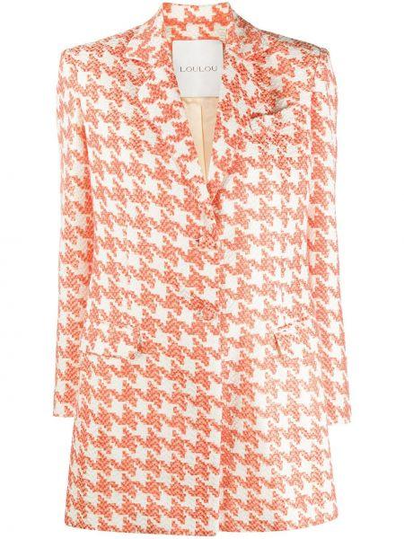 Оранжевый пиджак твидовый на пуговицах Loulou