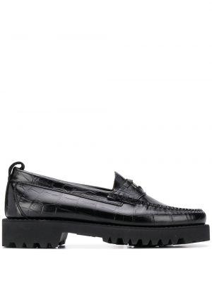 Skórzany czarny loafers na pięcie okrągły nos Karl Lagerfeld
