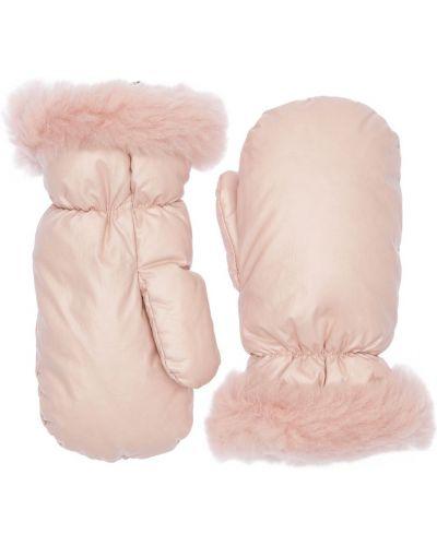 Różowe rękawiczki wełniane Yves Salomon Enfant