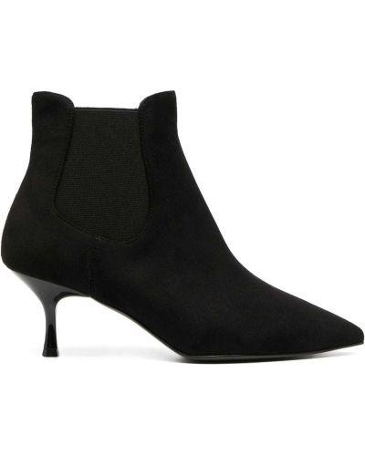 Кожаные черные пинетки на каблуке с острым носом Pollini
