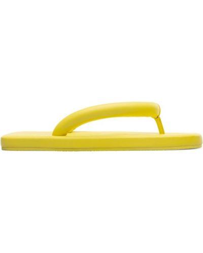 Żółty skórzany sandały wytłoczony Camper