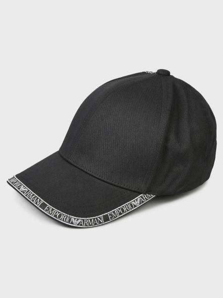 Хлопковая черная кепка Emporio Armani