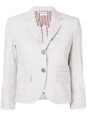 Хлопковое однобортное серое пальто Thom Browne