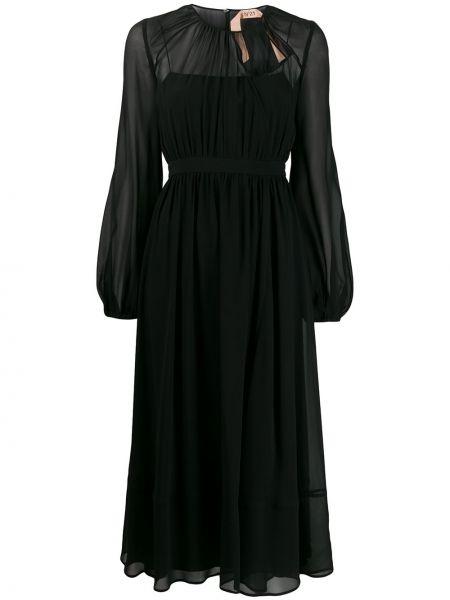 Czarna sukienka długa rozkloszowana tiulowa N°21