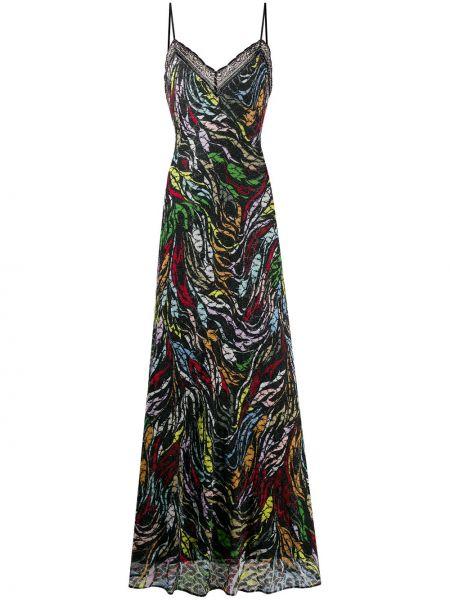Трикотажное черное платье макси с вырезом Missoni