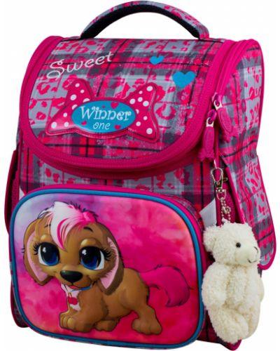Школьный розовый ранец на бретелях с карманами Winner One