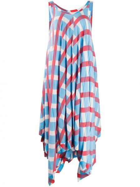 Платье миди со складками в клетку Issey Miyake