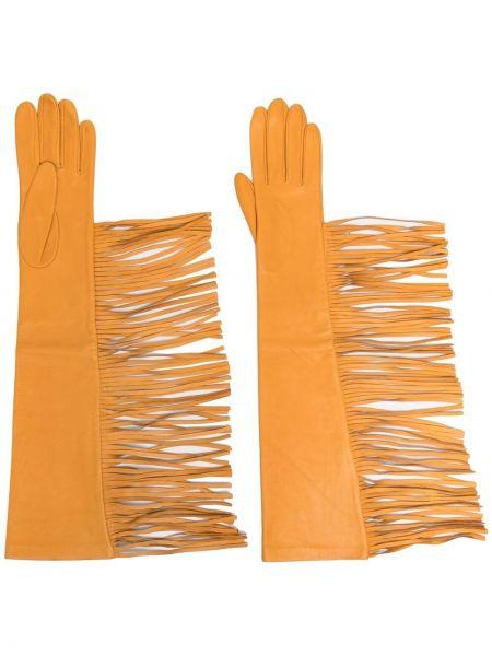 Желтые кожаные перчатки с бахромой Manokhi