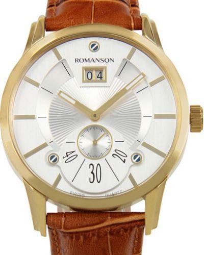 Часы водонепроницаемые с кожаным ремешком с подсветкой Romanson