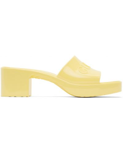 Otwarty żółty sandały plac na pięcie Gucci