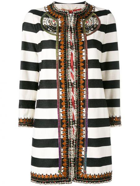 Пальто в полоску - черное Bazar Deluxe