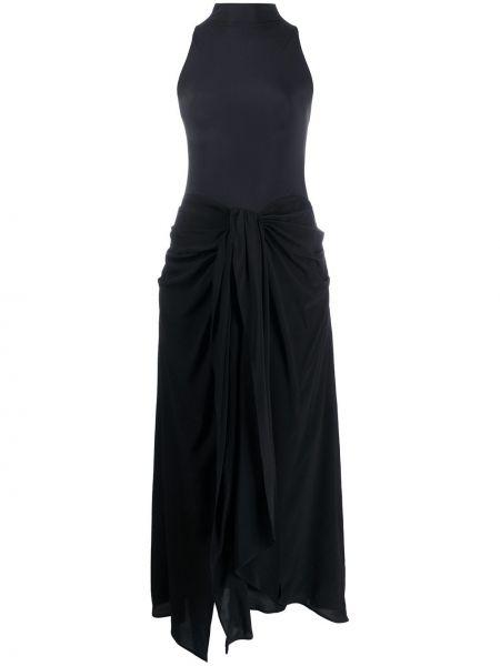 Черное платье миди без рукавов с вырезом из вискозы Ssheena