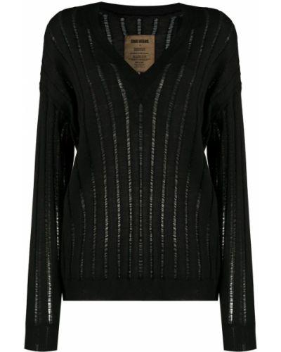 Кашемировый черный джемпер с V-образным вырезом Uma Wang