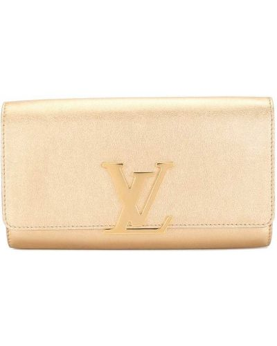 Желтый золотистый кожаный клатч Louis Vuitton