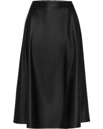 Черная юбка миди с карманами из искусственной кожи Bonprix