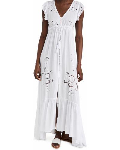 С кулиской белое платье с вышивкой Tiare Hawaii