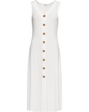 Платье с V-образным вырезом - белое Bonprix