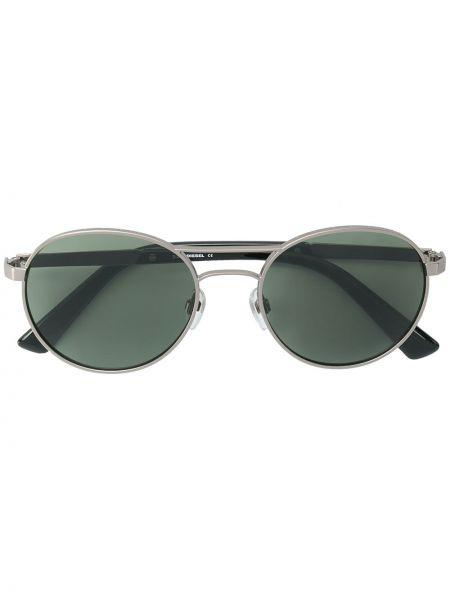 Прямые желтые солнцезащитные очки круглые металлические Diesel