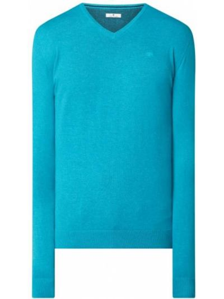 Sweter z dekoltem w serek - turkusowy Tom Tailor