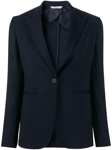 Шерстяной синий удлиненный пиджак с карманами Tonello