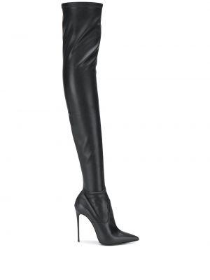 Кожаные ботфорты - черные Le Silla