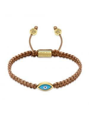 Коричневый нейлоновый золотой браслет позолоченный свободного кроя Nialaya Jewelry