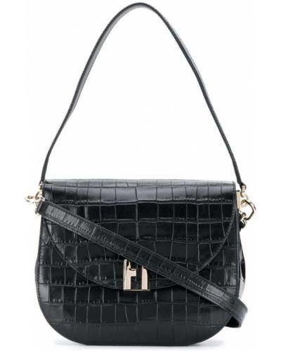 Золотистая кожаная черная сумка на плечо Furla