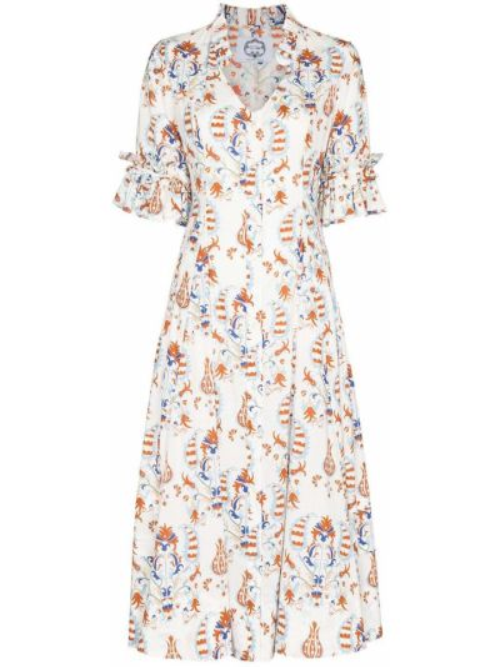 Biała sukienka długa w kwiaty z długimi rękawami Evi Grintela