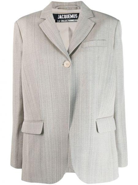 Шелковый серый пиджак с карманами Jacquemus