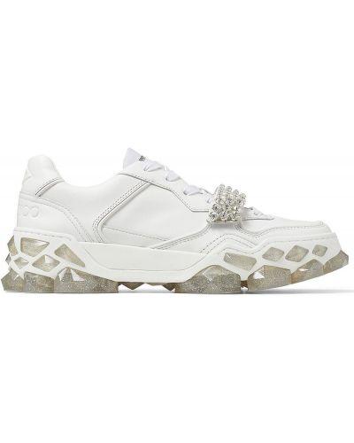Кожаные белые кроссовки на шнуровке Jimmy Choo