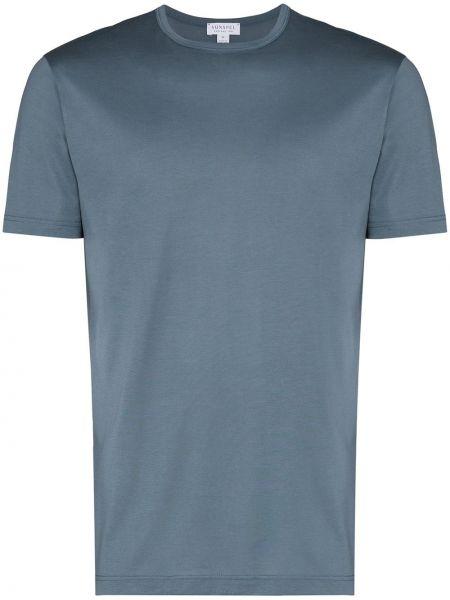 Прямая хлопковая синяя базовая футболка Sunspel