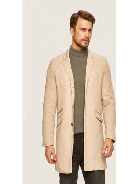 С рукавами бежевое пальто с карманами Only & Sons