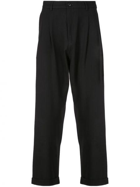 Черные прямые брюки с поясом на пуговицах новогодние Second/layer