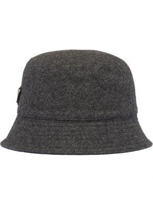 Szary kapelusz wełniany Prada