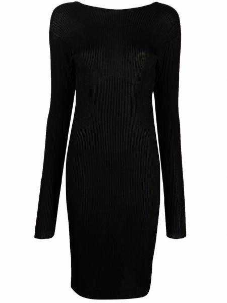 Черное платье с открытой спиной из вискозы Laneus