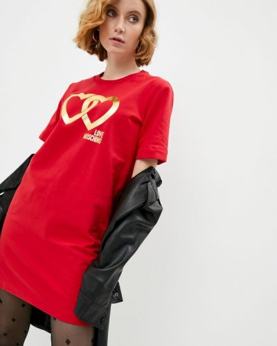 Красное платье Love Moschino