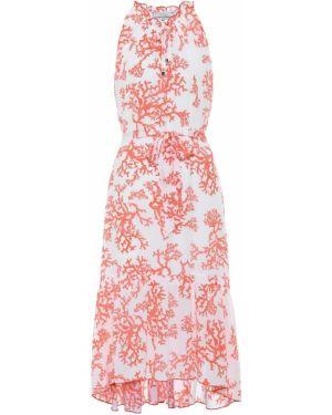 Платье миди коралловый с завышенной талией Heidi Klein