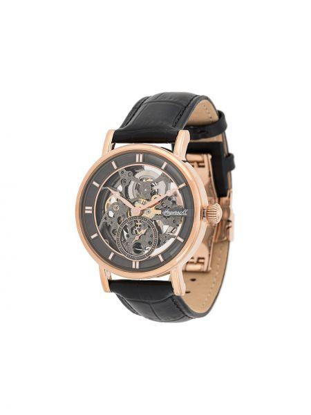 Czarny zegarek na skórzanym pasku skórzany Ingersoll Watches